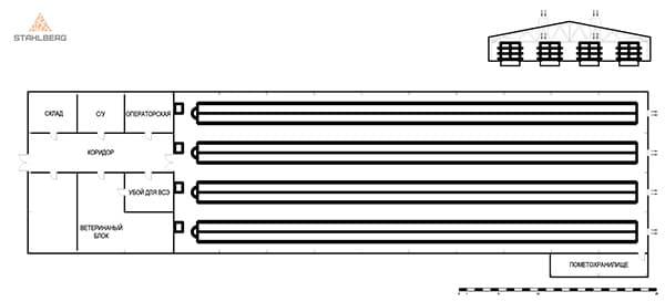 План птичника для клеточного содержания